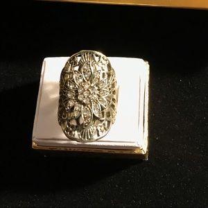 Vintage Silver Pot Metal Statement Ring